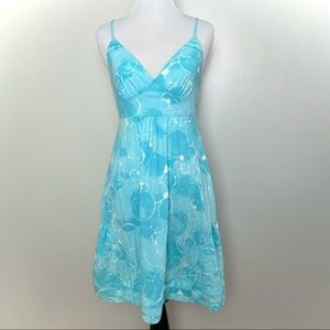American Eagle Blue Bubbles Dress with Bow in Back